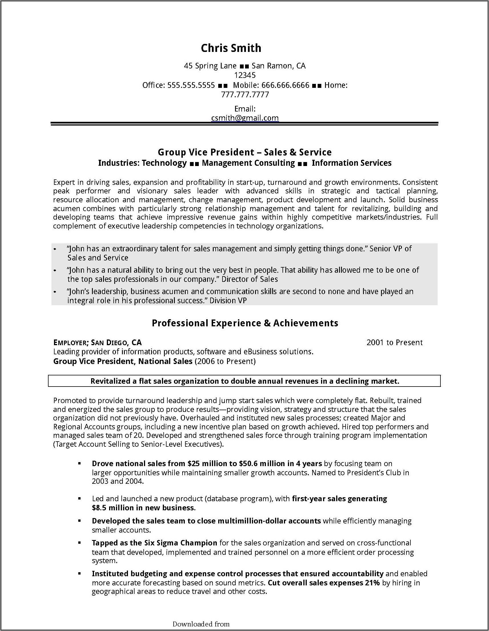 Sales Executive Resume Format Pdf