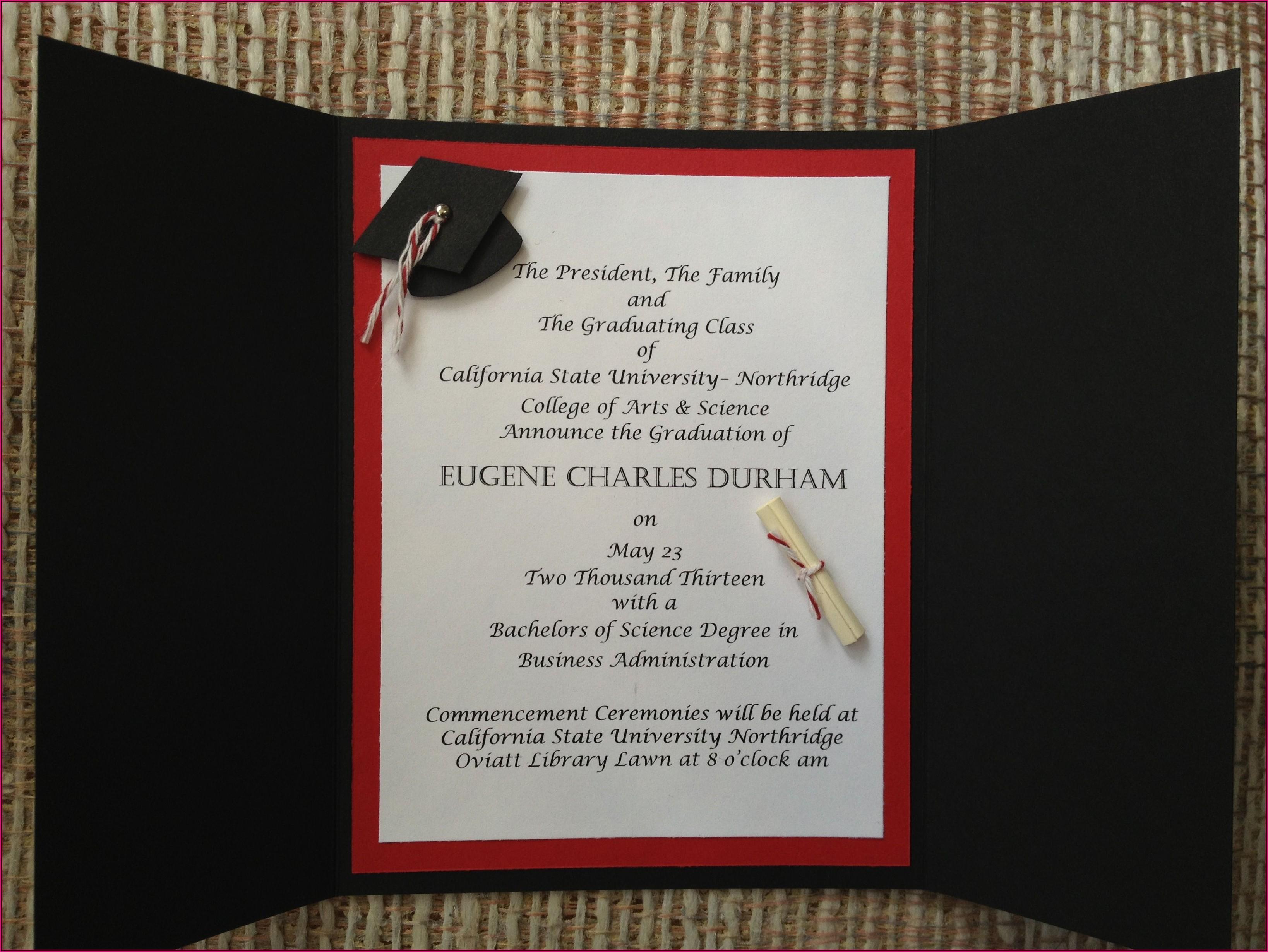 Sample Graduation Invitation Wording