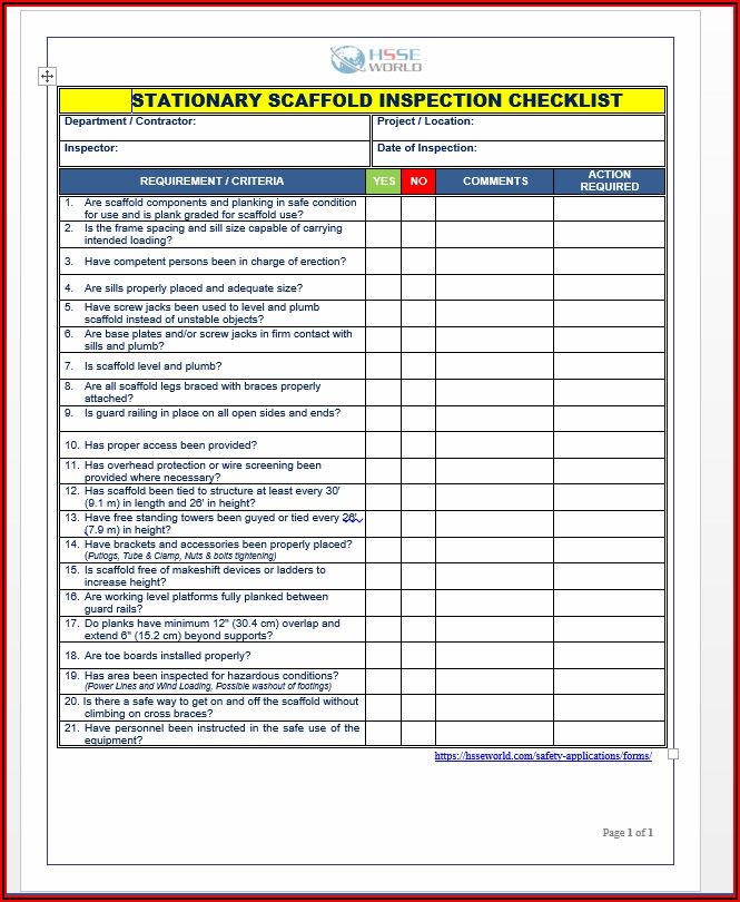 Sample Inspection Form Fall Protection Equipment