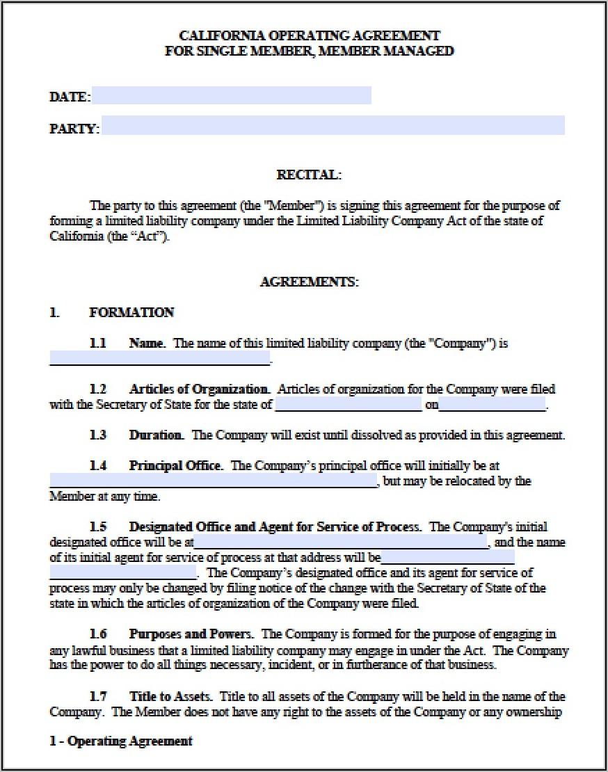 Sample Single Member Llc Operating Agreement California