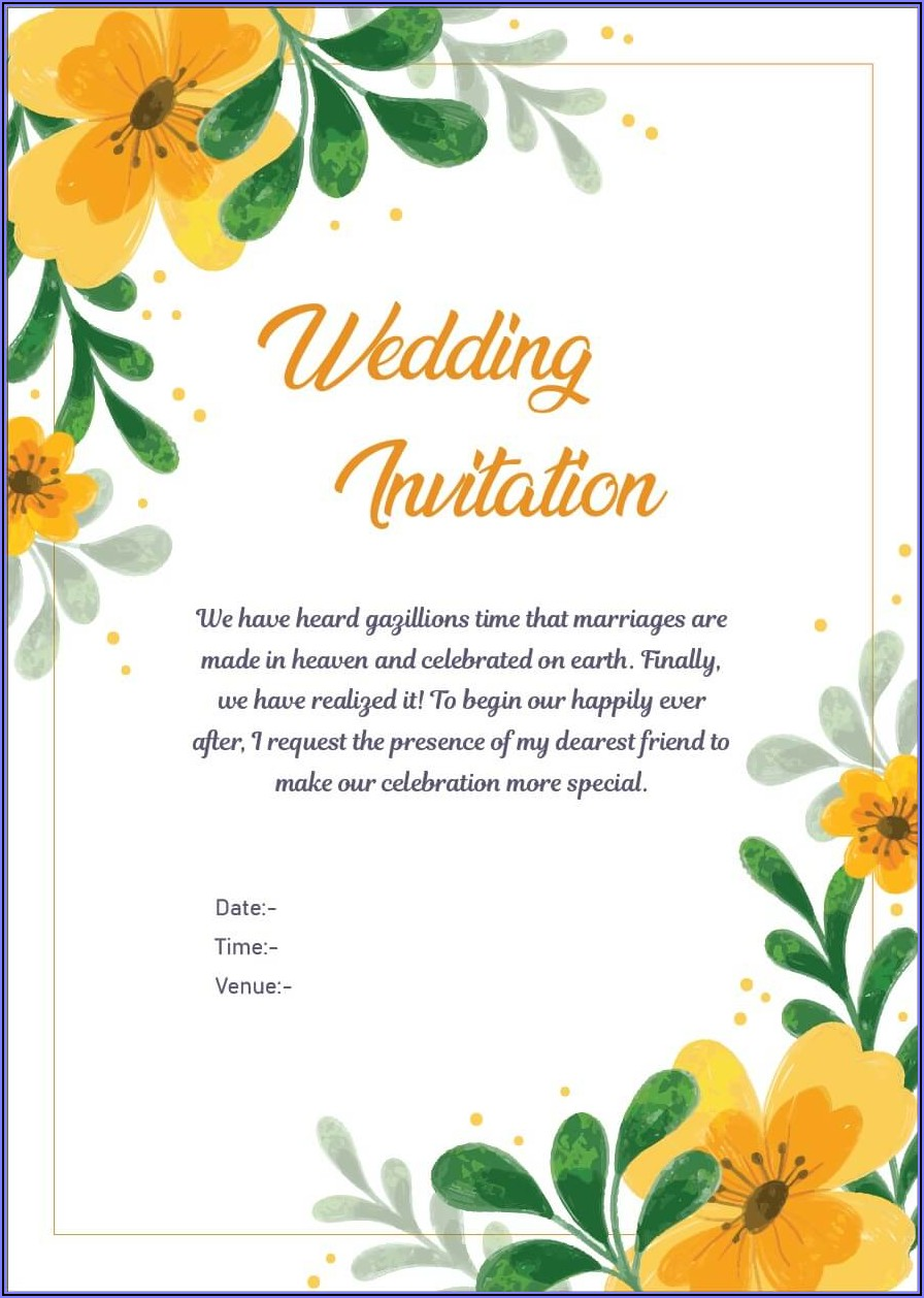 Sample Wedding Invitation Email For Office Colleagues In India