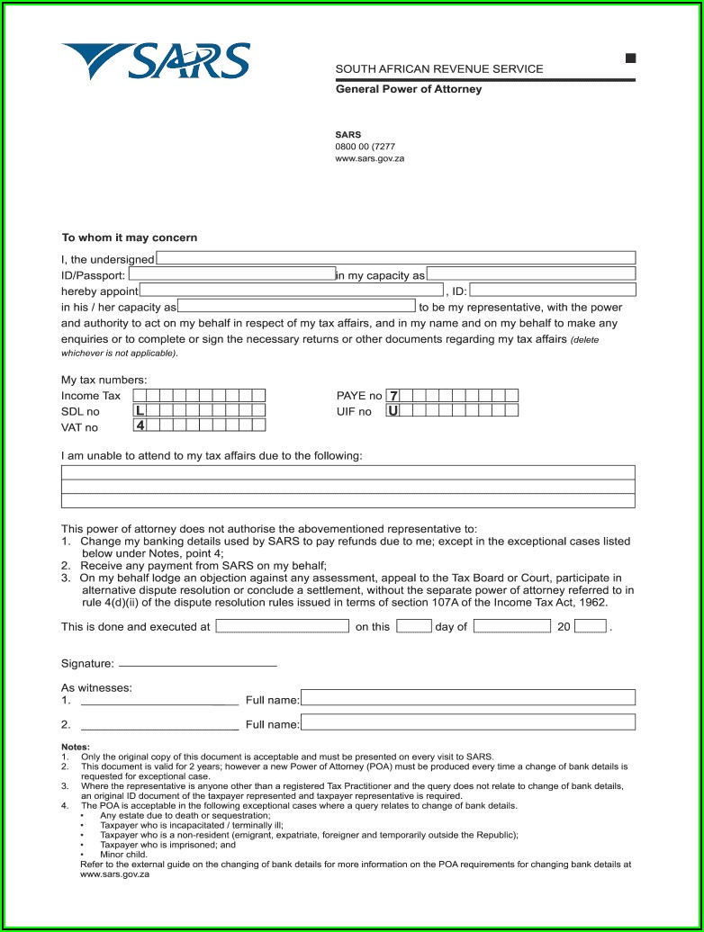 Sars Power Of Attorney Template South Africa