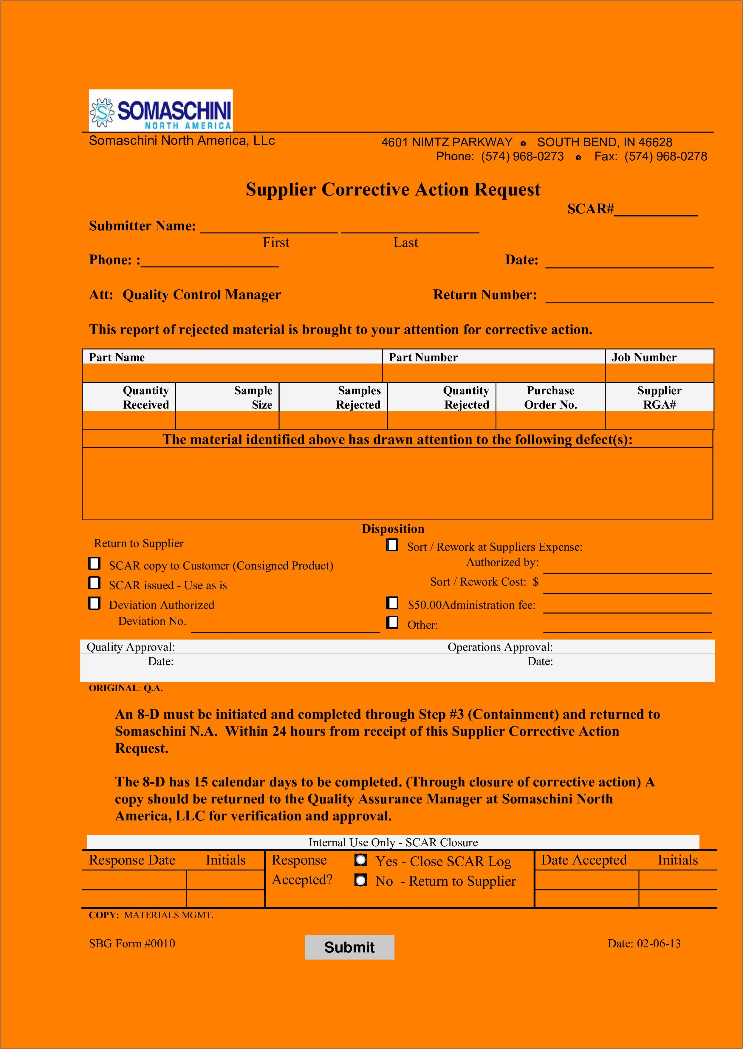 Scar Supplier Corrective Action Request Form