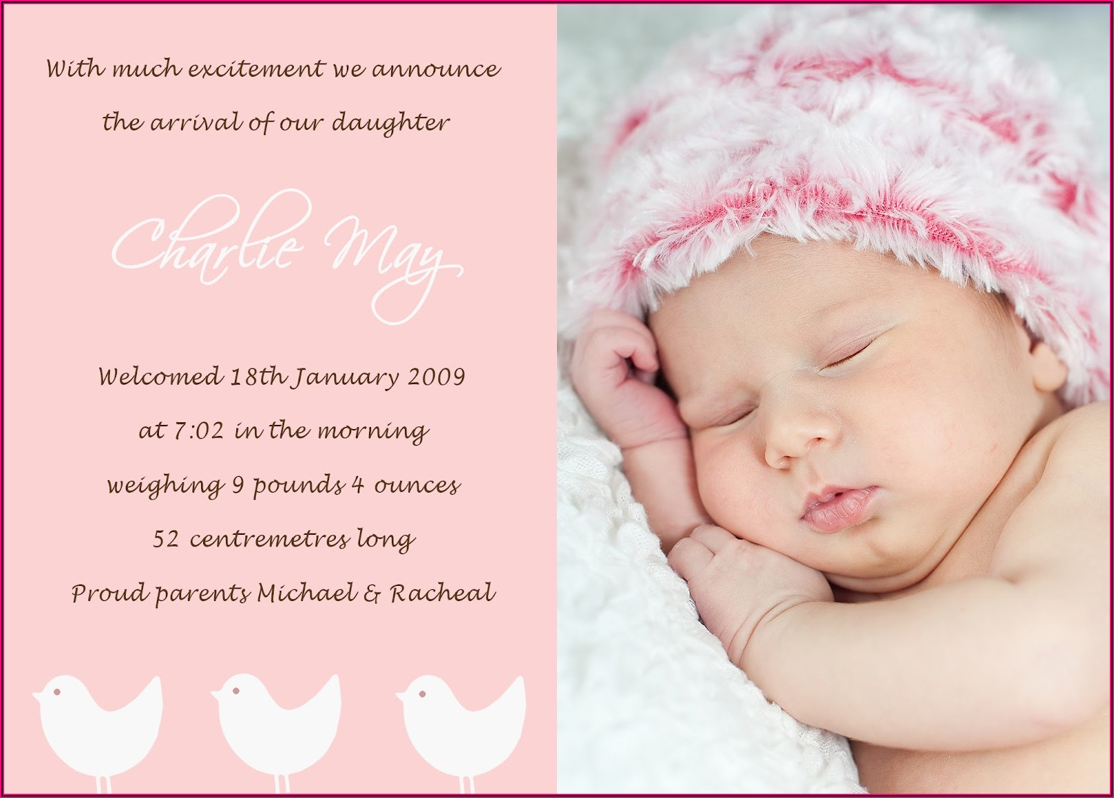 Second Child Birth Announcement Wording