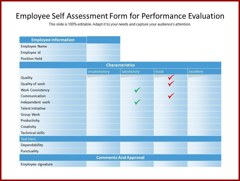 Self Evaluation Form For Employee Performance