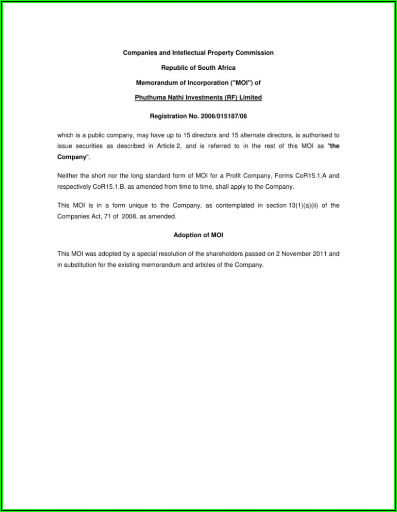 Shareholder Resolution Template South Africa