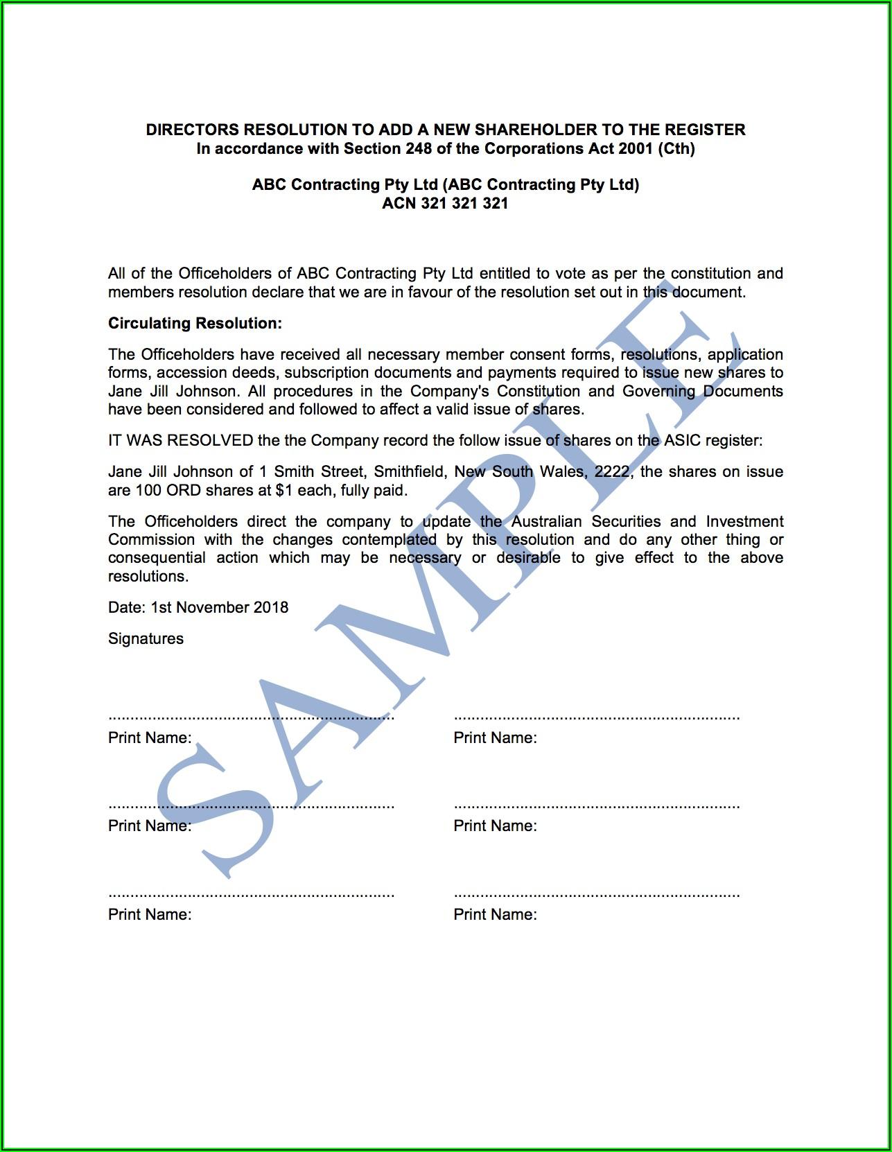 Shareholder Resolution Template