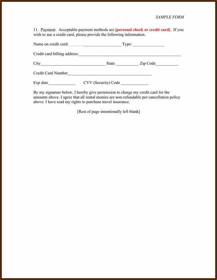 Short Term Rental Agreement Template Pdf