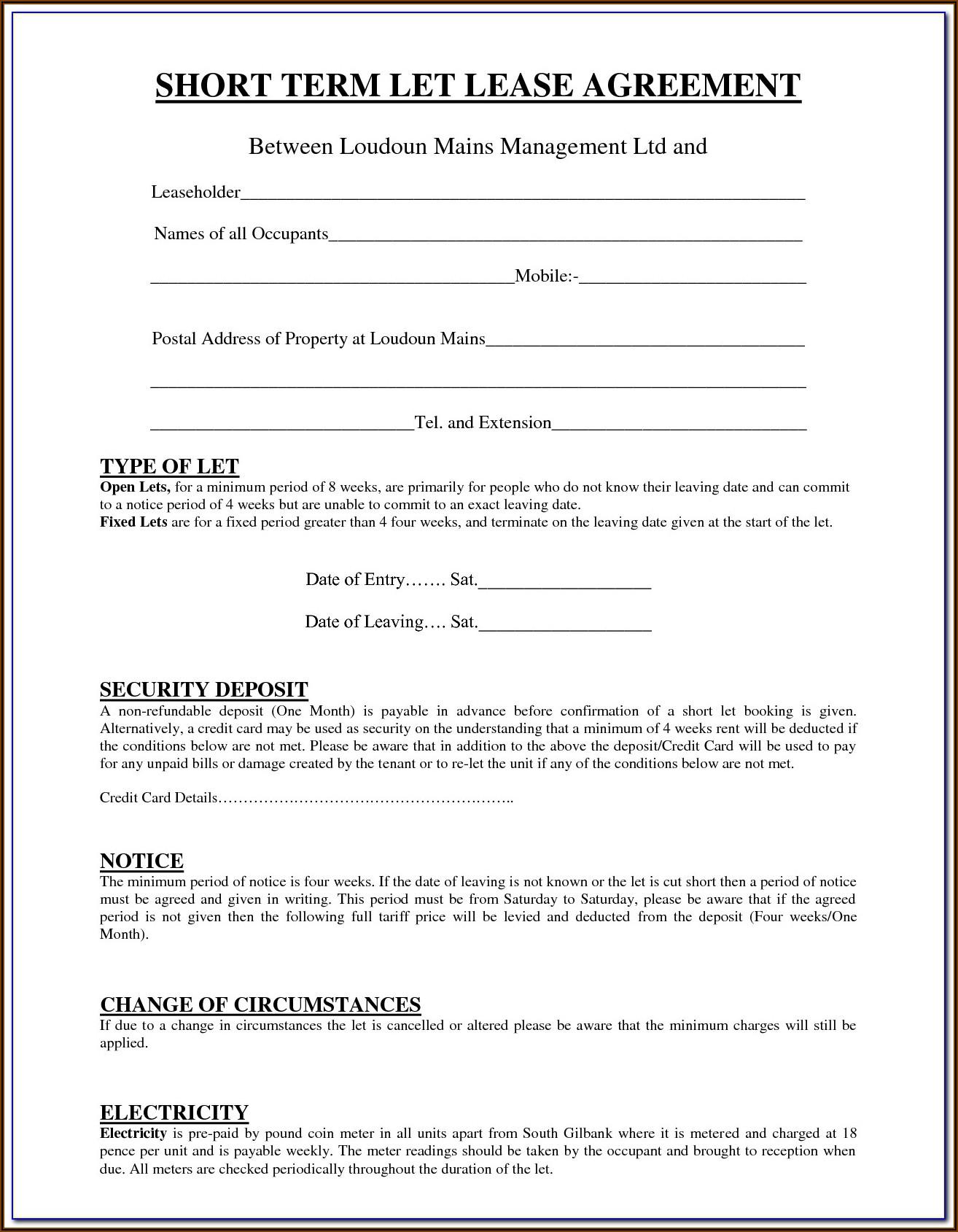 Short Term Rental Agreement Template Uk