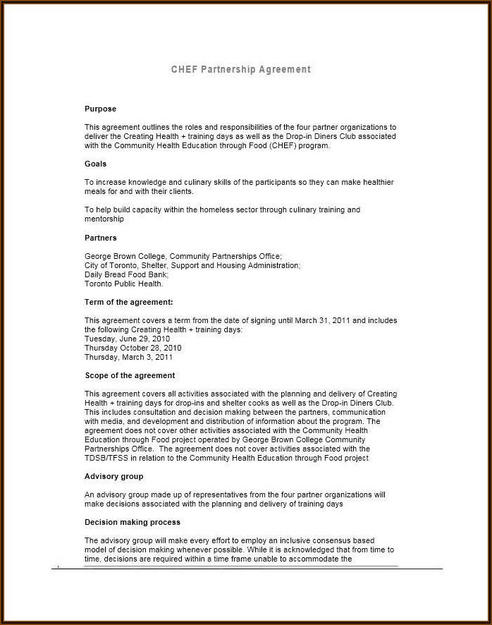Silent Partner Agreement Example
