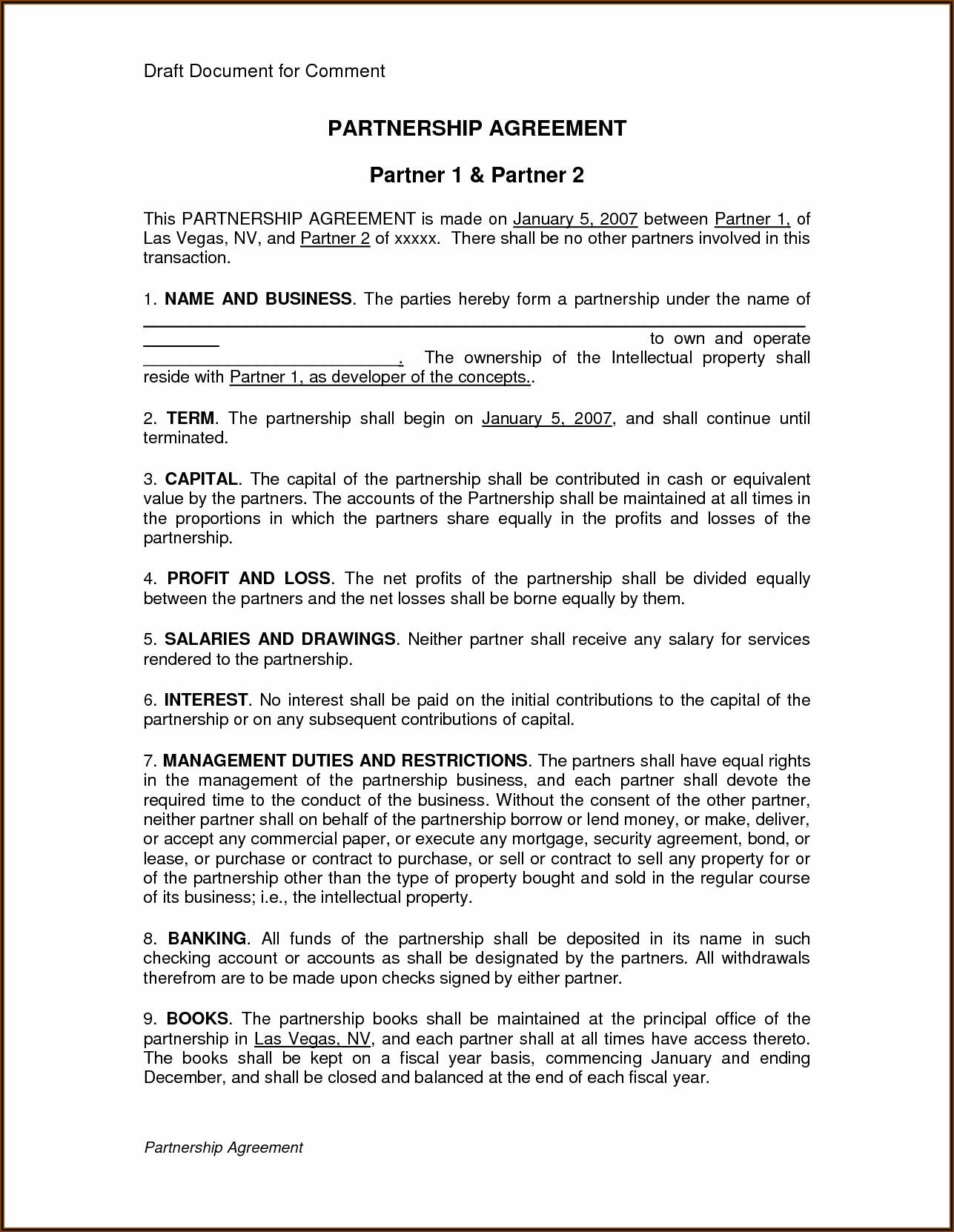 Silent Partner Agreement Forms