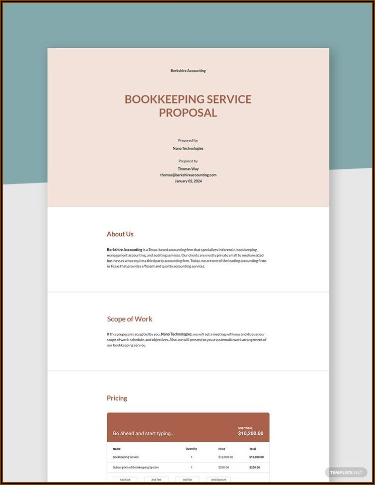 Simple Bookkeeping Proposal Template