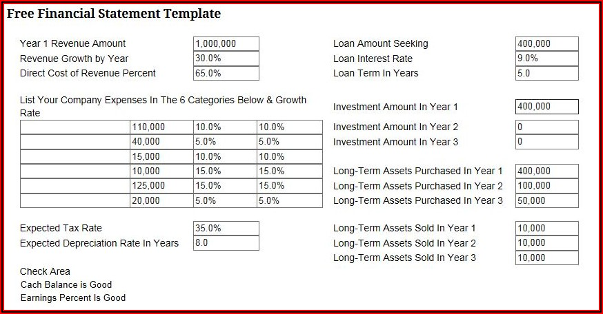 Simple Business Financial Statement Form