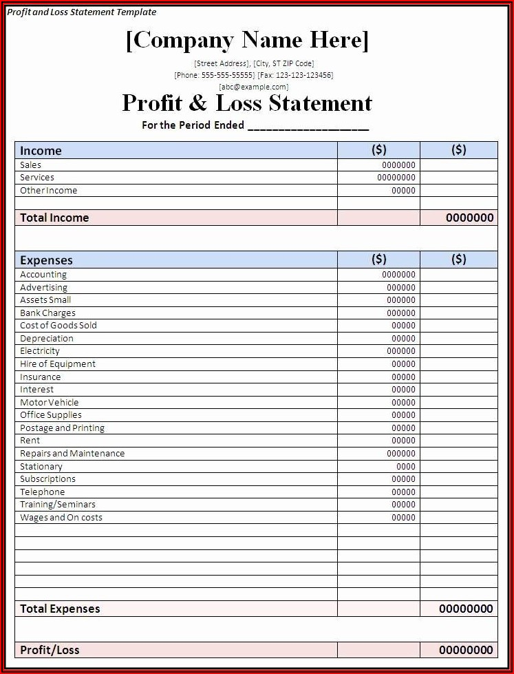 Simple Financial Statement Template