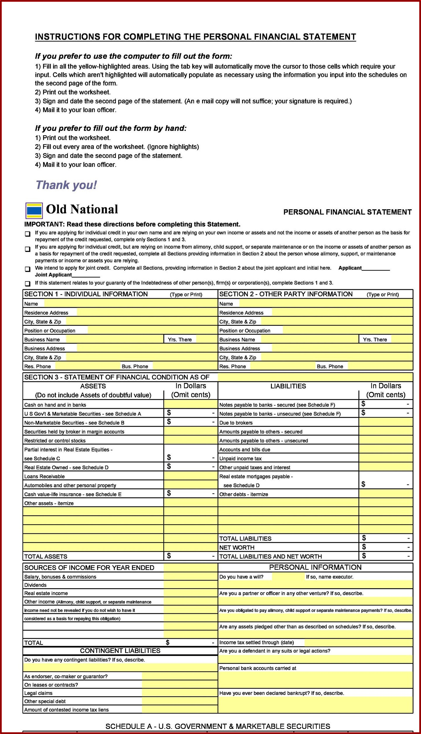 Simple Personal Financial Statement Form