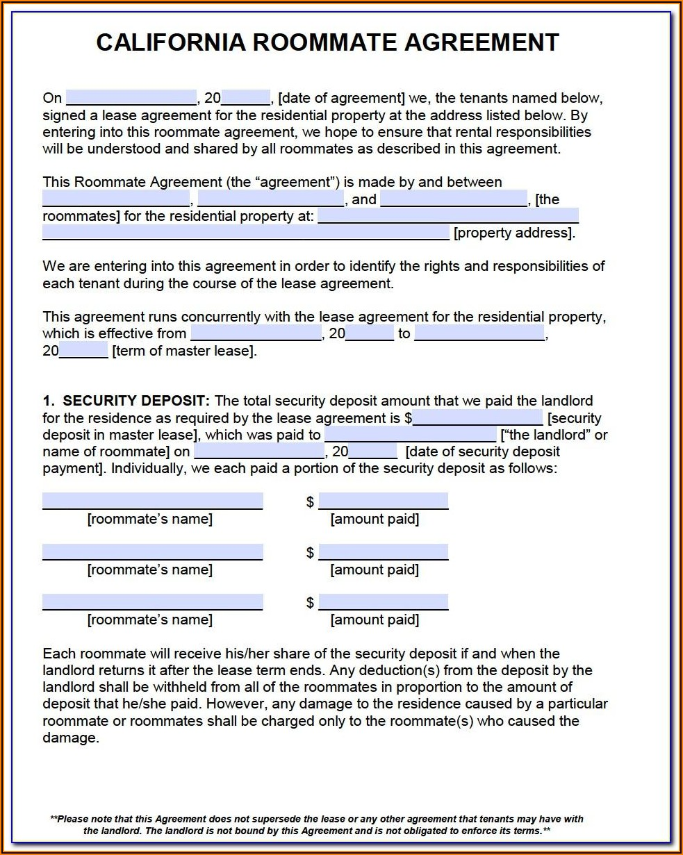 Simple Rental Agreement Template California