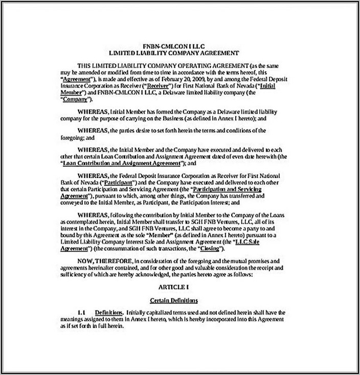 Single Member Llc Operating Agreement Template Free Pdf