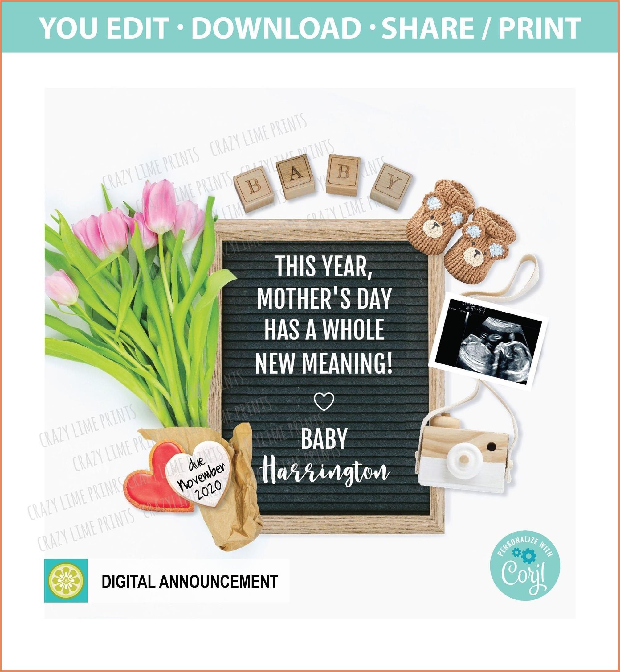 Social Media Pregnancy Announcement Template