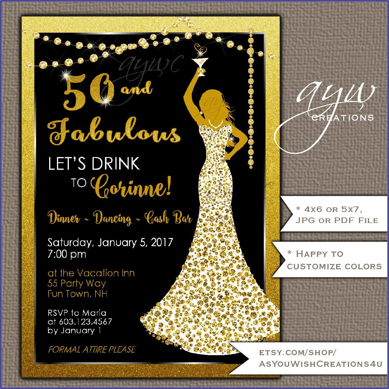 Surprise 50th Birthday Invitations For Her