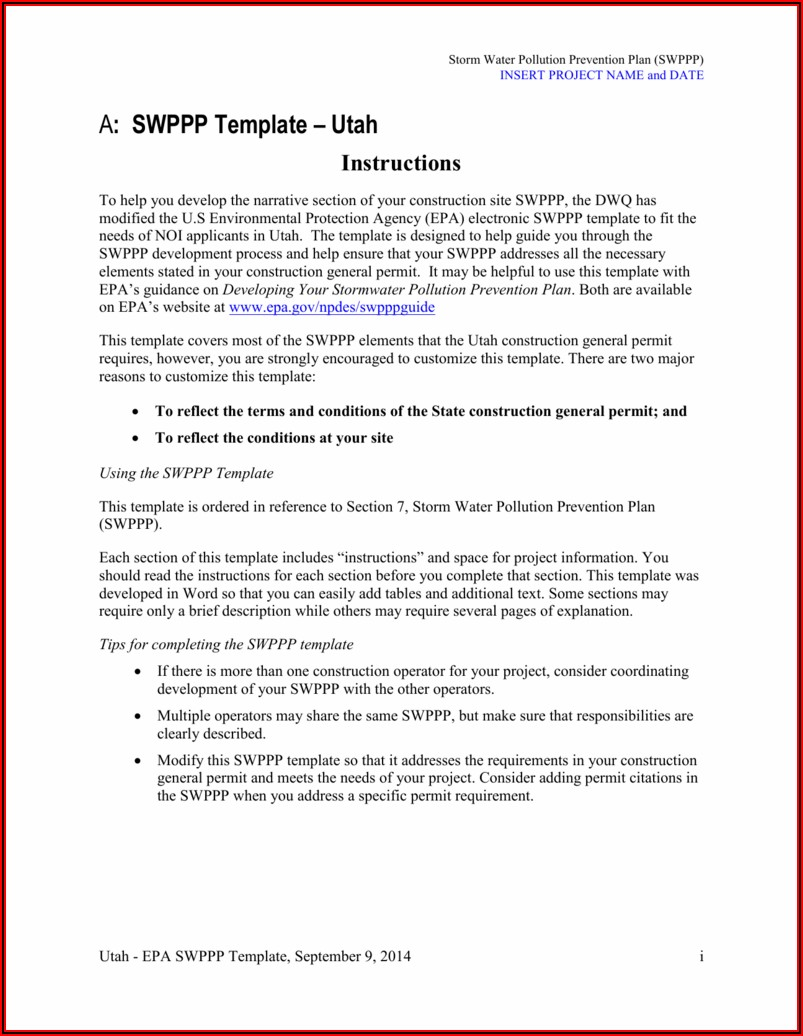 Swppp Inspection Form Florida