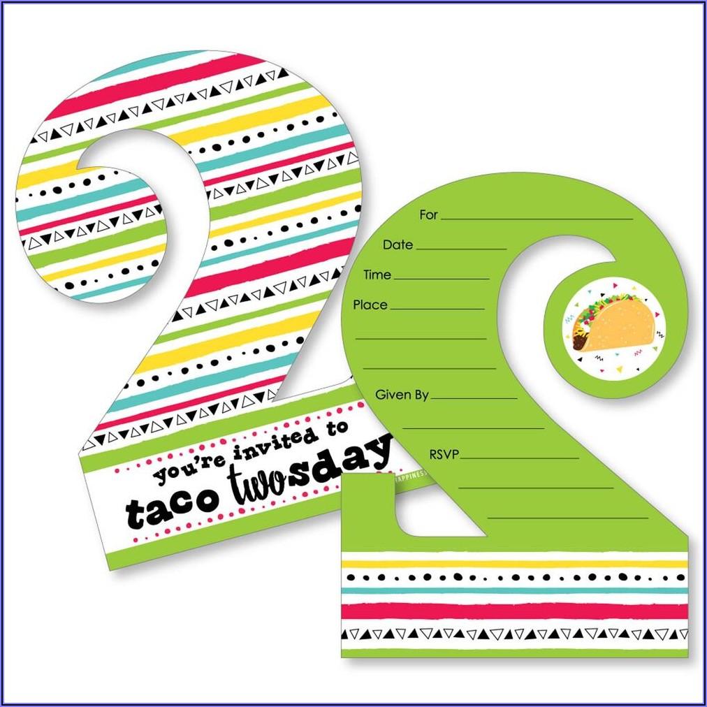Taco Twosday Birthday Party Invitations