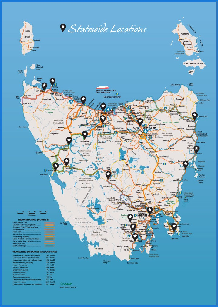 Tasmania Road Touring Map