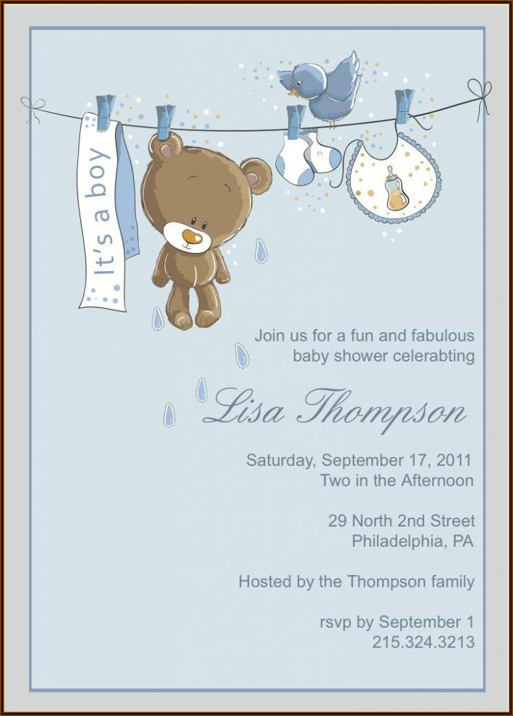 Teddy Bear Baby Shower Invitation Template Free