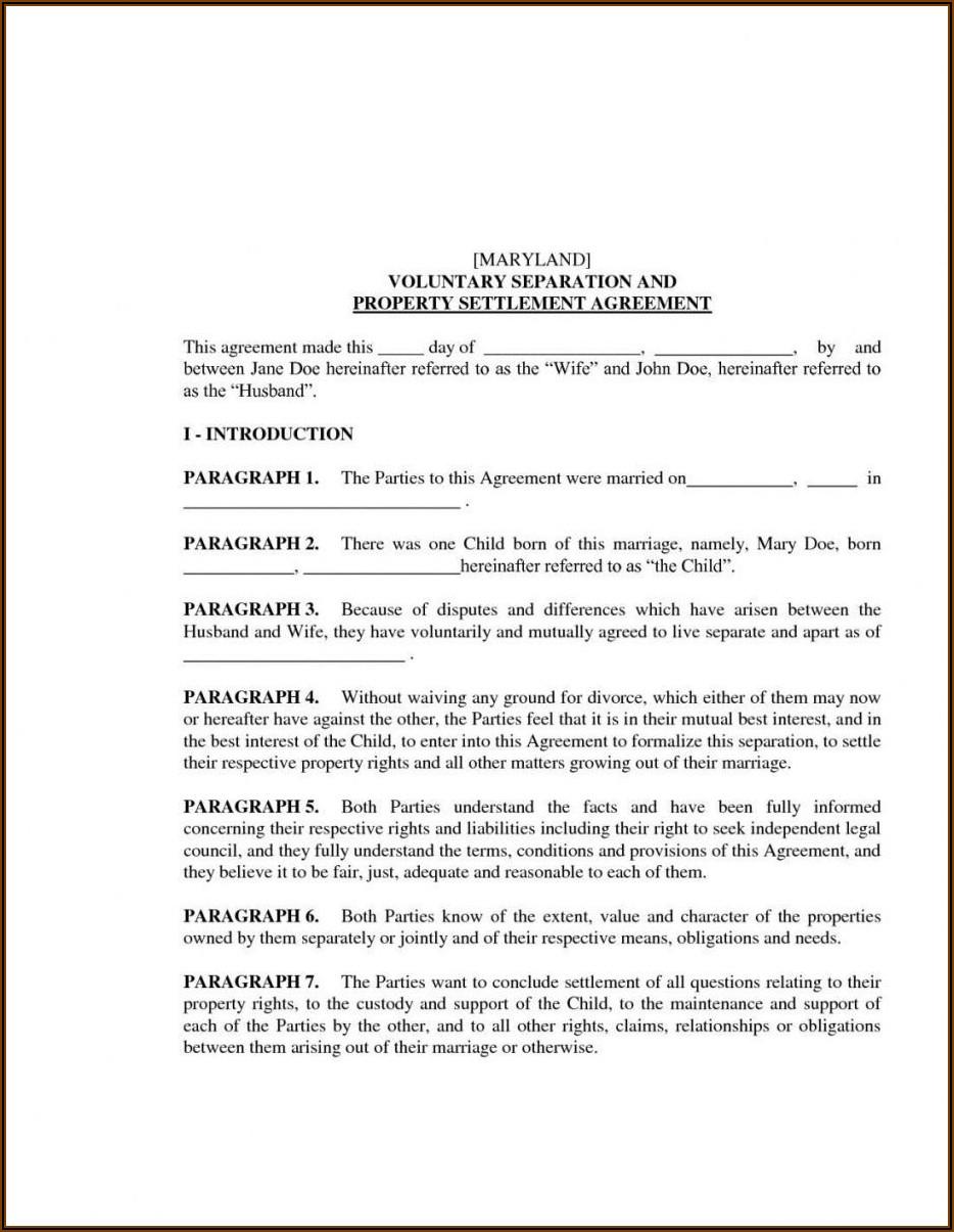 Template For Marital Settlement Agreement