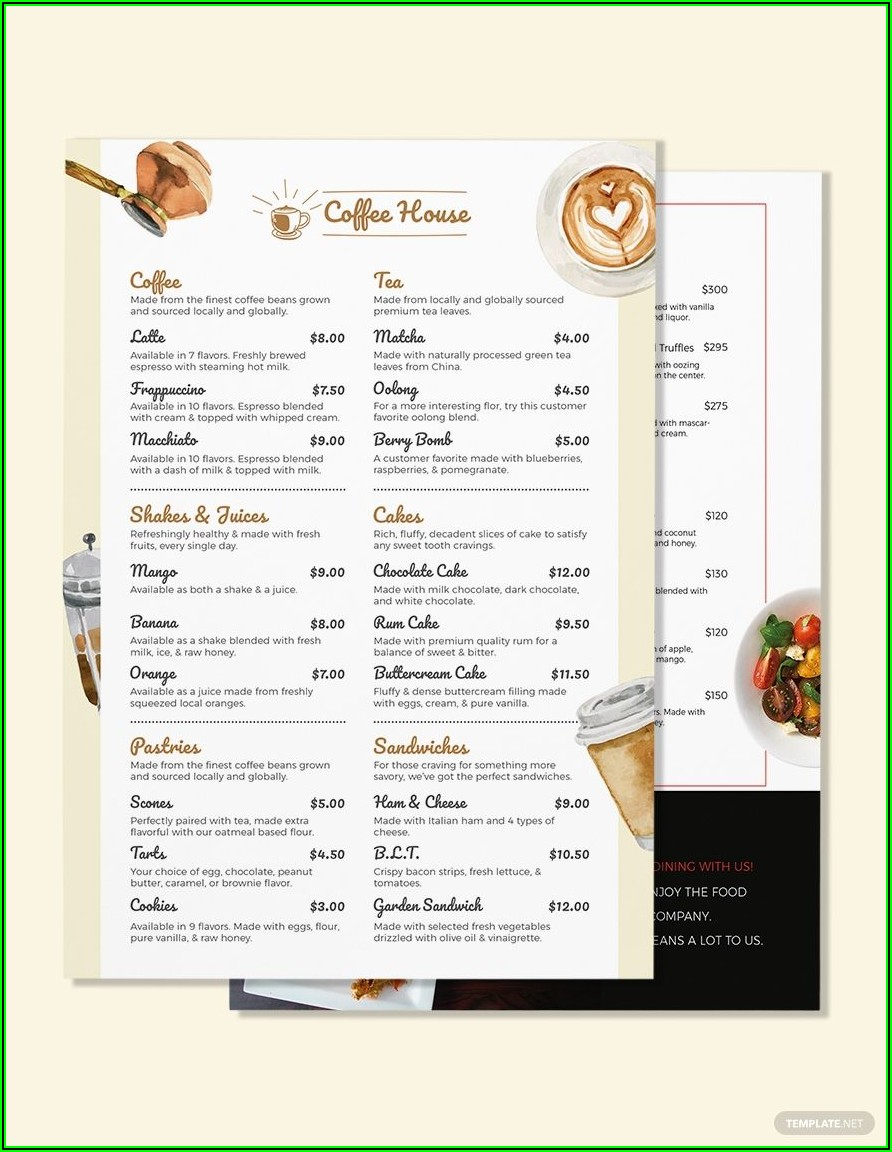 Template Menu Cafe Doc