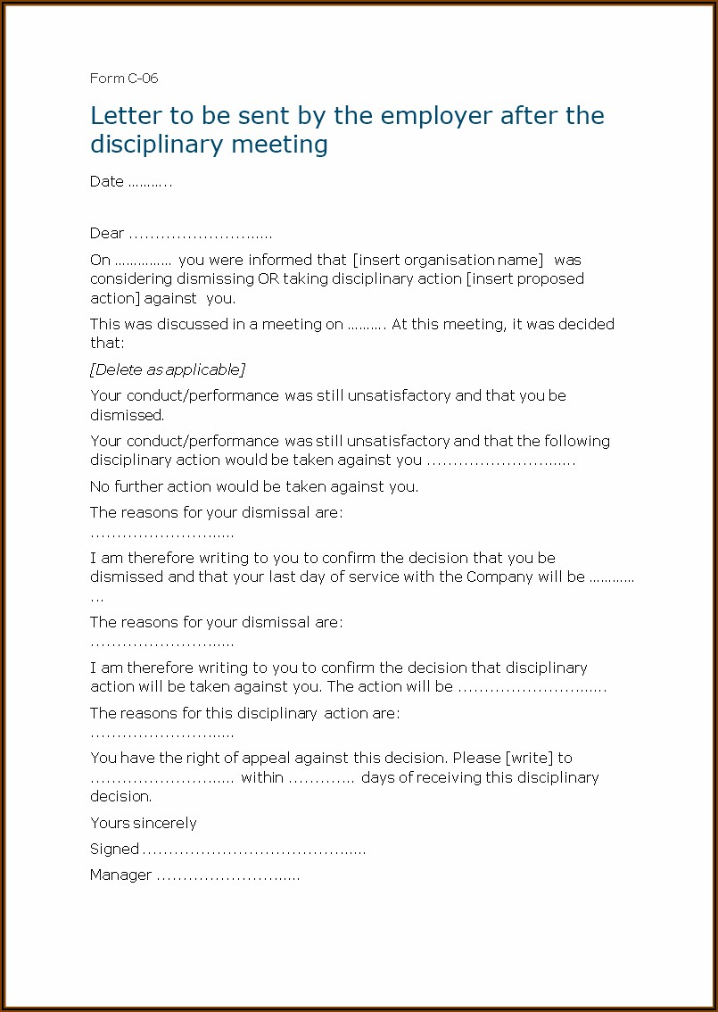Template Of Disciplinary Letter To An Employee
