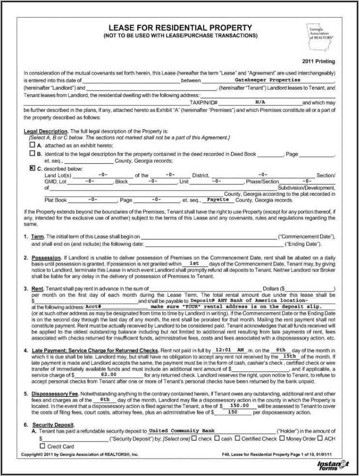 Tenancy Lease Agreement Form