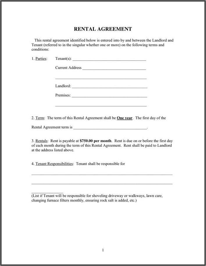 Tenant Landlord Agreement Form