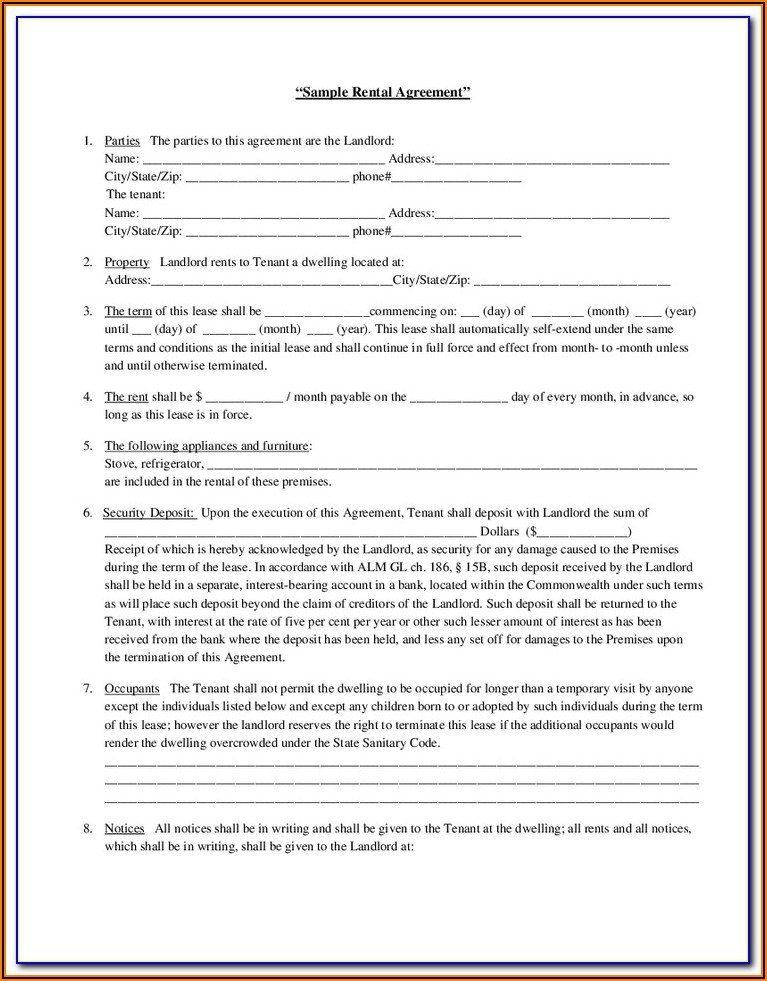 Tenant Lease Agreement Form Wa