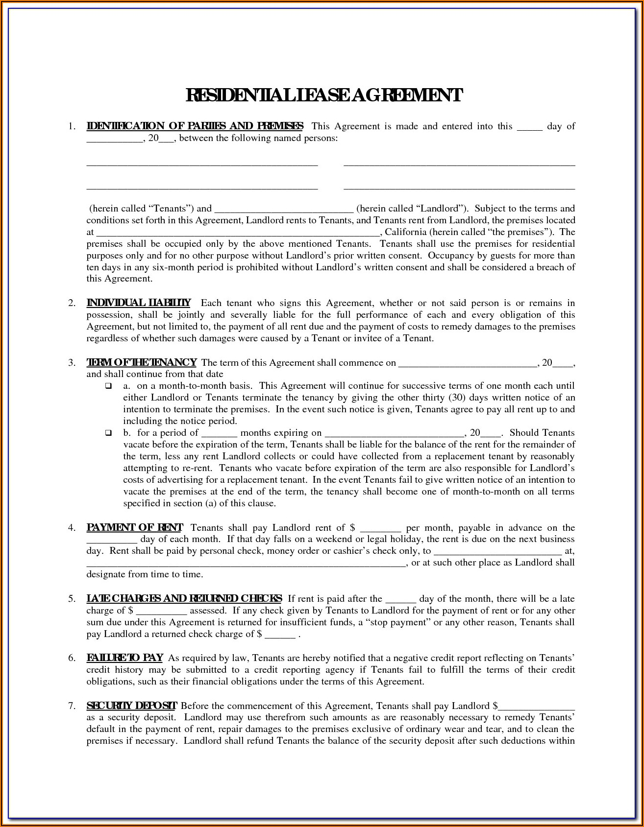 Tenant Lease Agreement Template Word