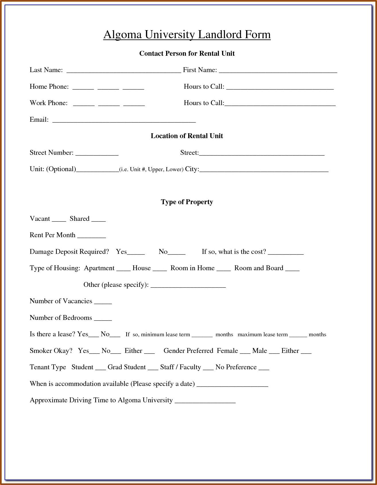 Tenant Rental Agreement Form Ontario