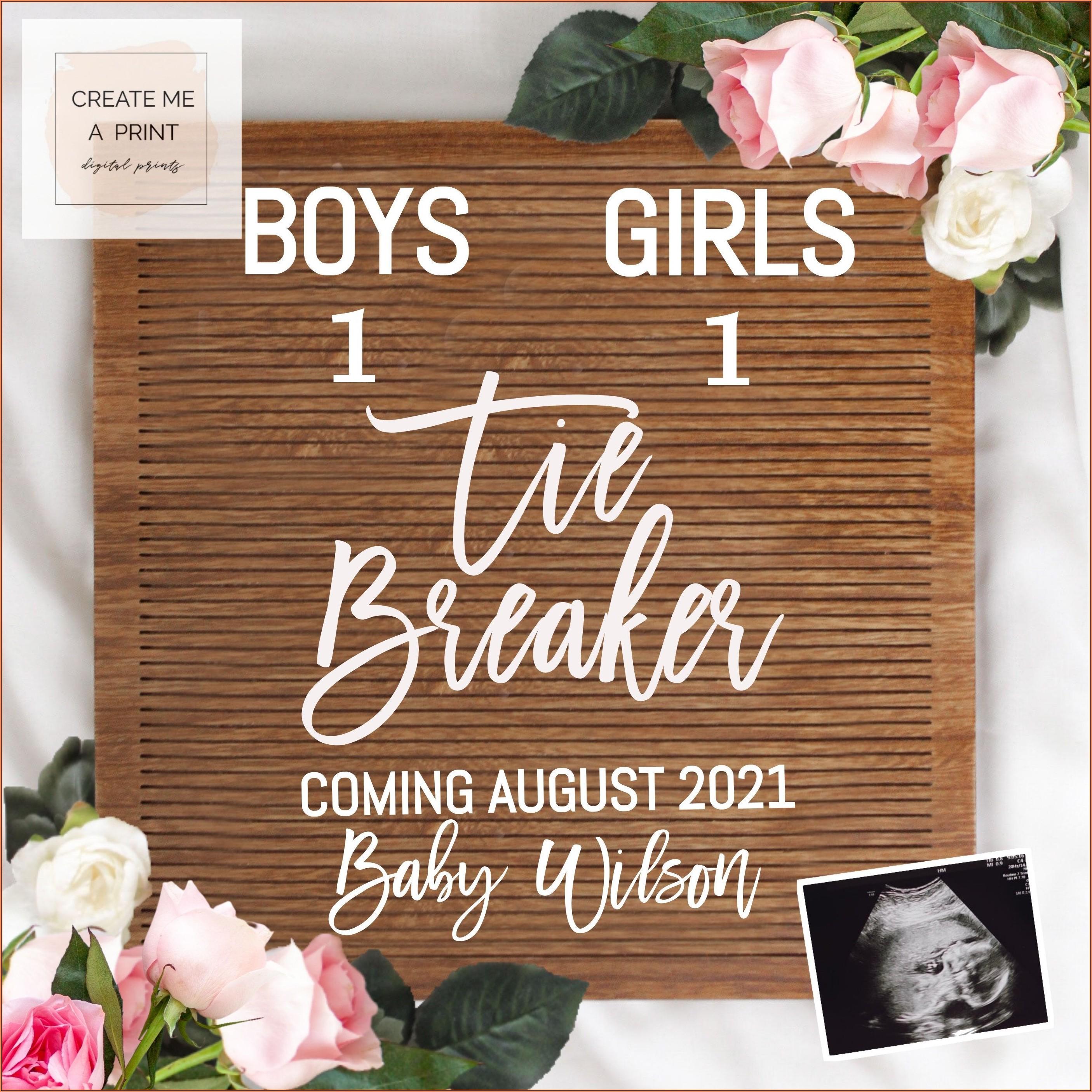 Tiebreaker Pregnancy Announcement Template