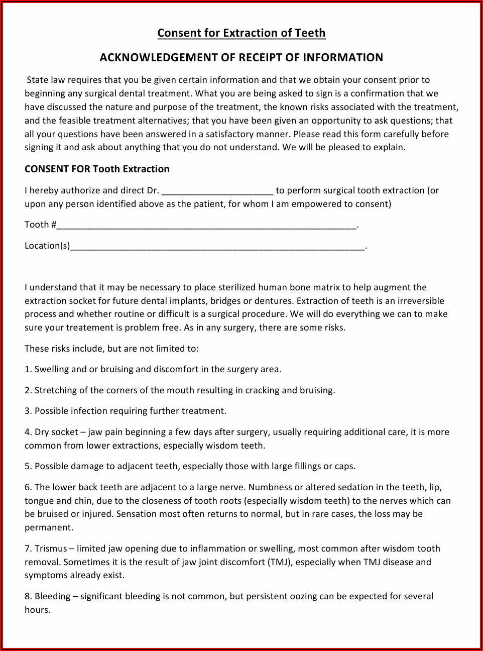 Tooth Extraction Consent Form Pdf