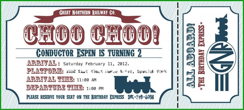 Train Ticket Invitations Template Free