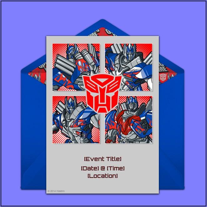 Transformer Birthday Invitation Card Template