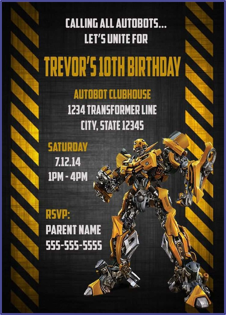 Transformers Birthday Invitation Free Template