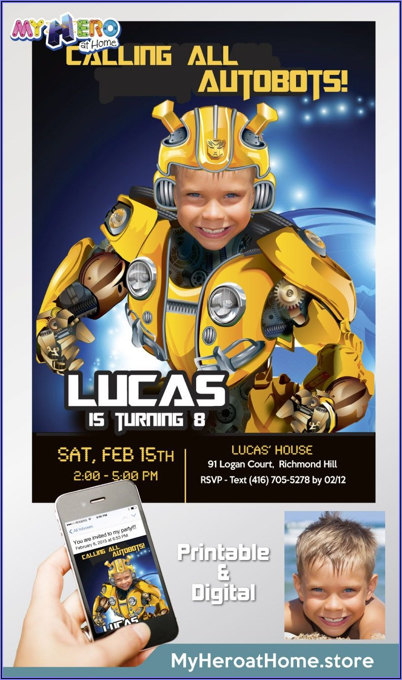 Transformers Bumblebee Birthday Party Invitations