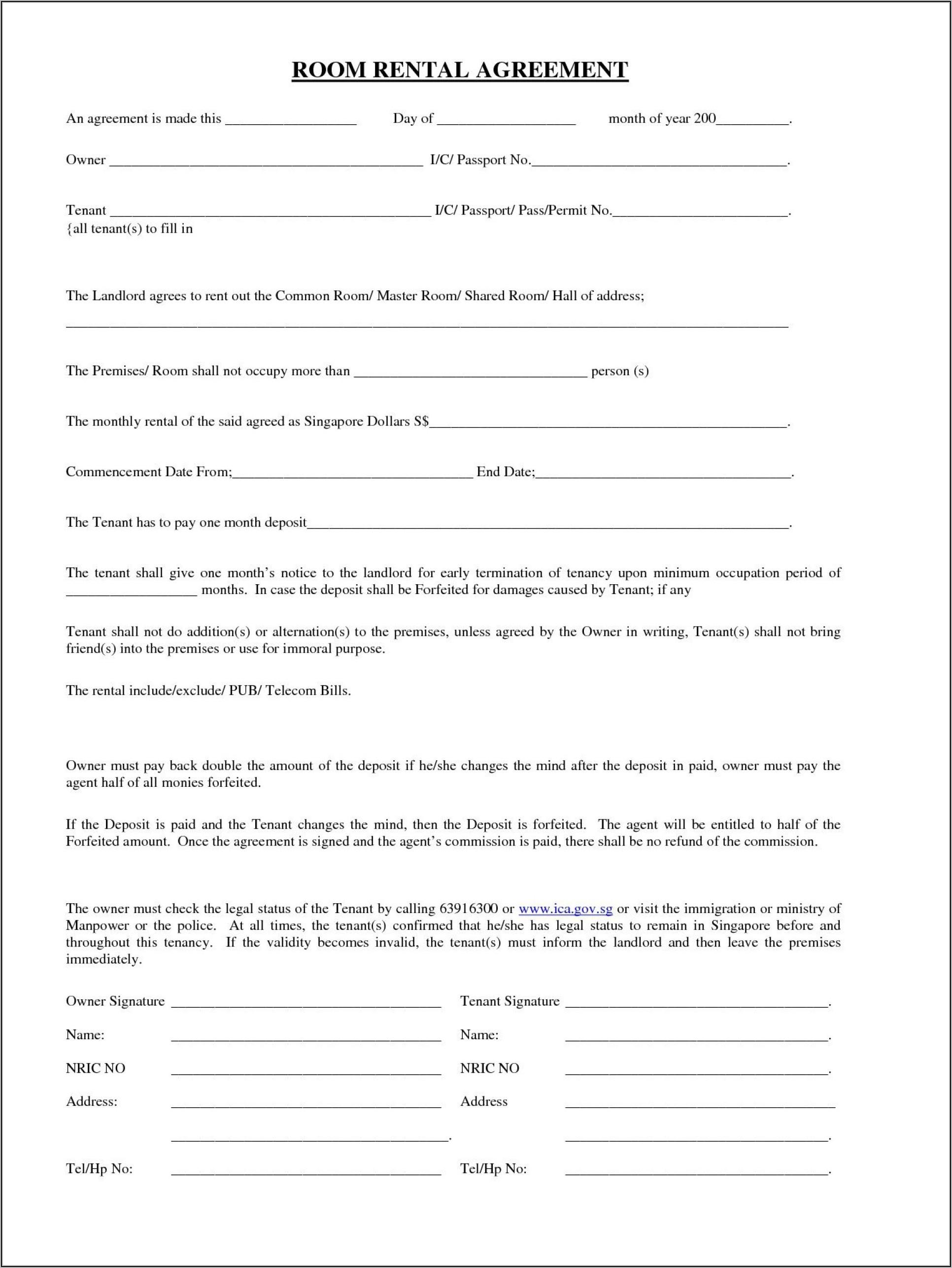 Uk Room Rental Agreement Template