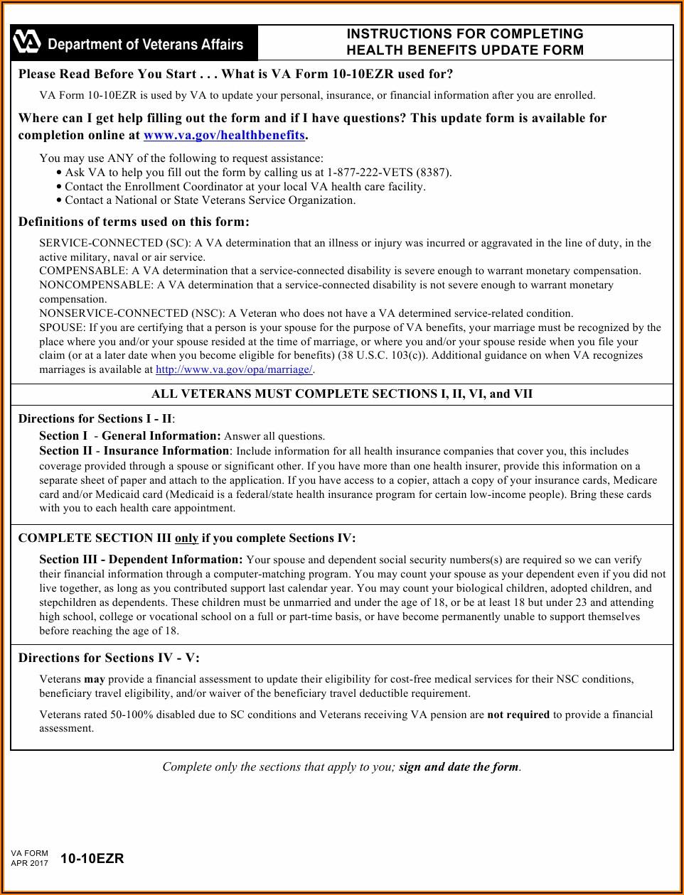 Va.gov Form 10 10ezr