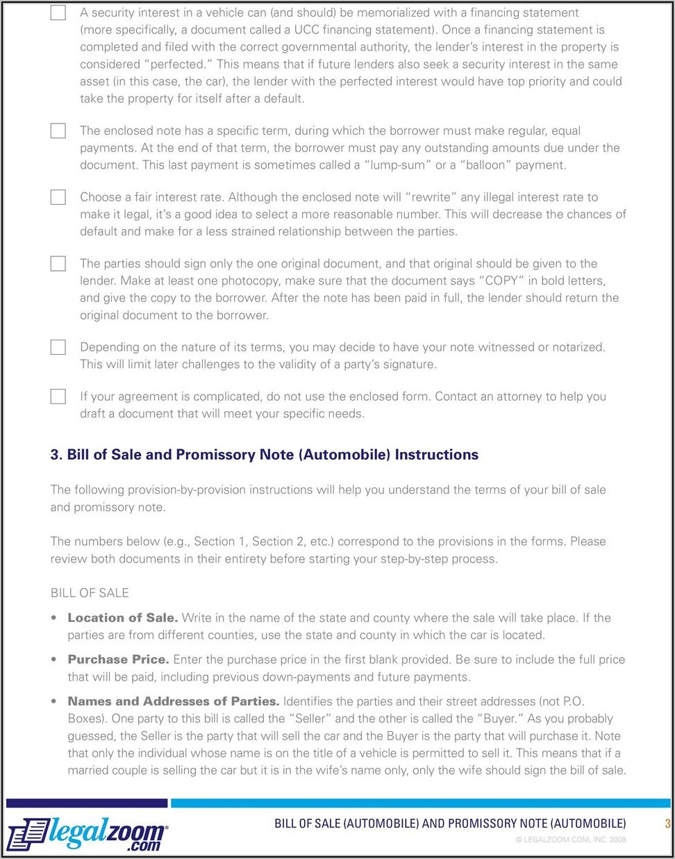 Vehicle Bill Of Sale With Promissory Note Template