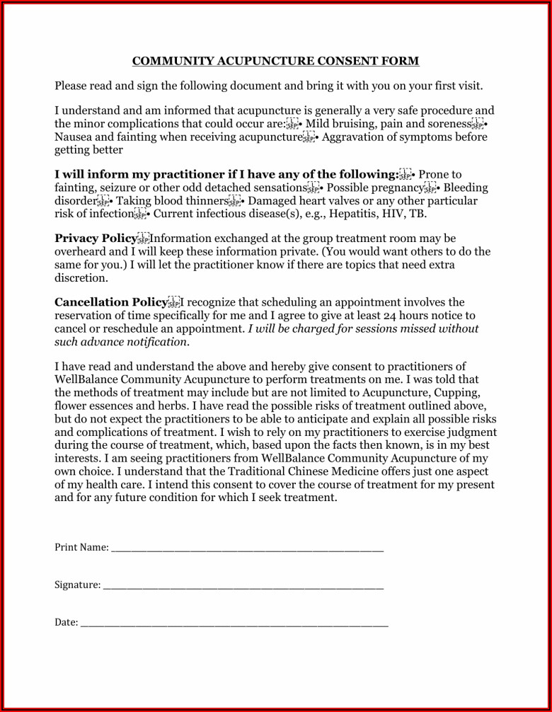 Veterinary Acupuncture Consent Form