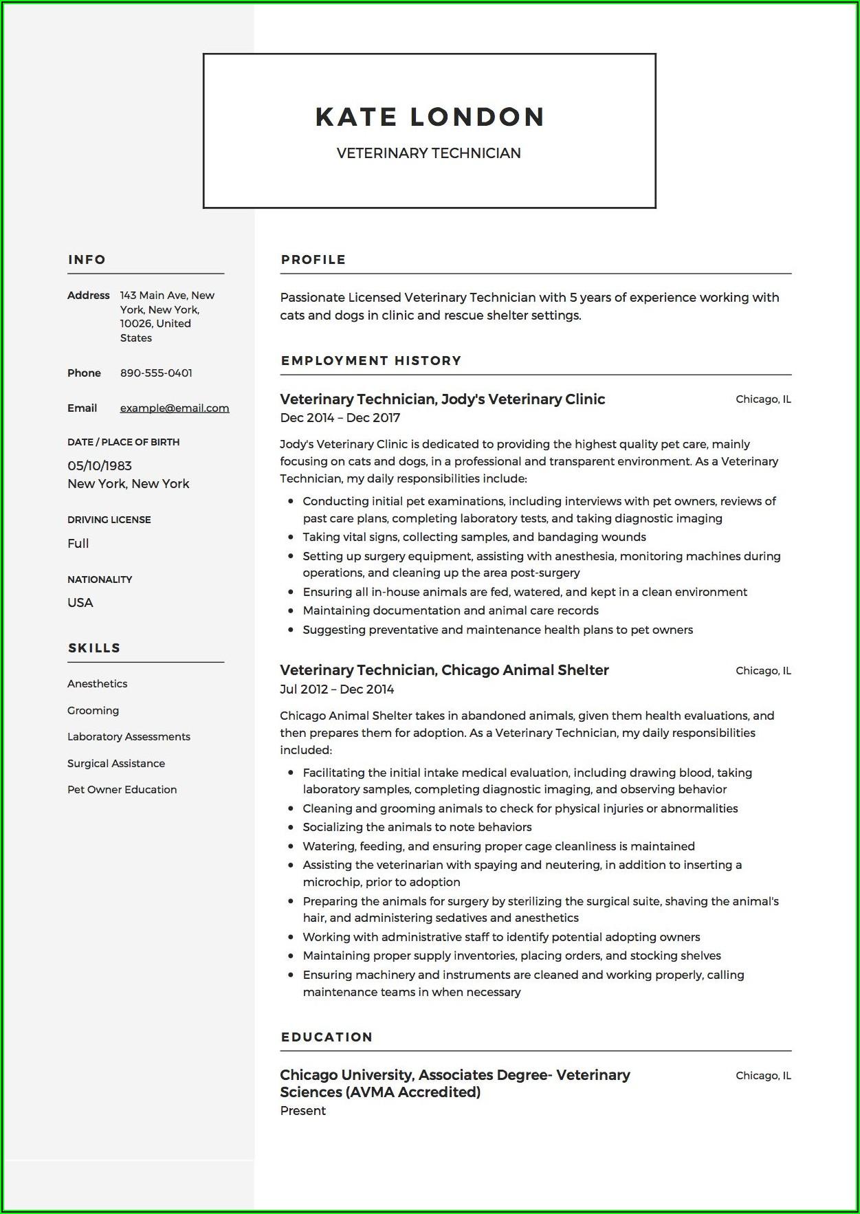 Veterinary Tech Resume Example