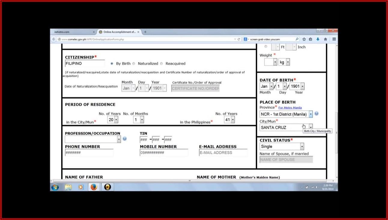 Voters Registration Application Form