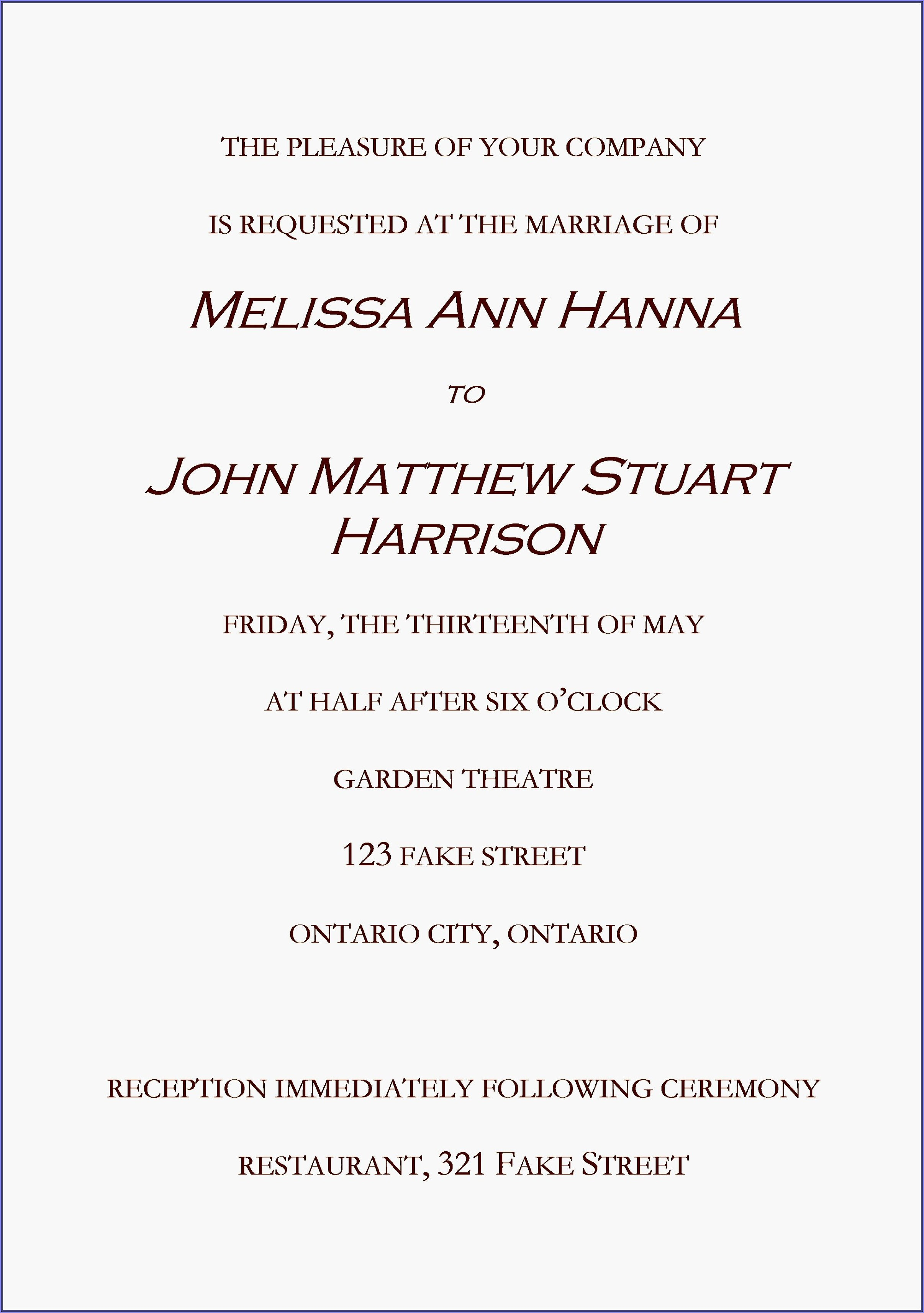 Wedding Invitation Mail Content