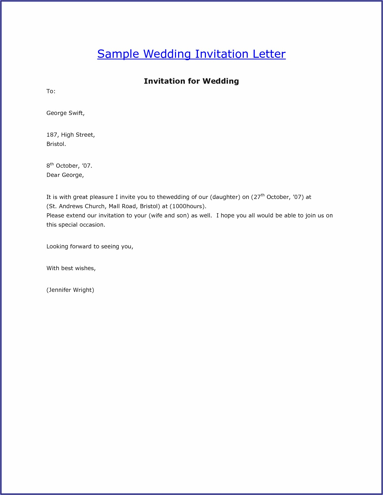 Wedding Invitation Mail To Manager