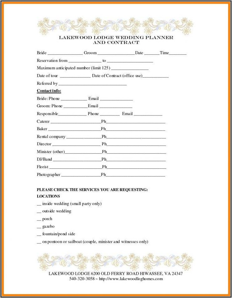 Wedding Planning Contract Sample